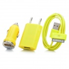 Car Charging Adapter Charger + EU Plug AC Charger + USB Cable for iPhone 4 / 4S - Yellow
