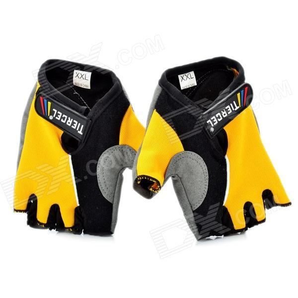 цены Outdoor Sports Cycling Non-slip Half Finger Gloves - Yellow + Grey