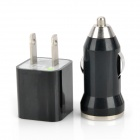 AC Adapter Charger + Car Charger + USB Cable for iPhone 4 / 4S - Black (US Plug)