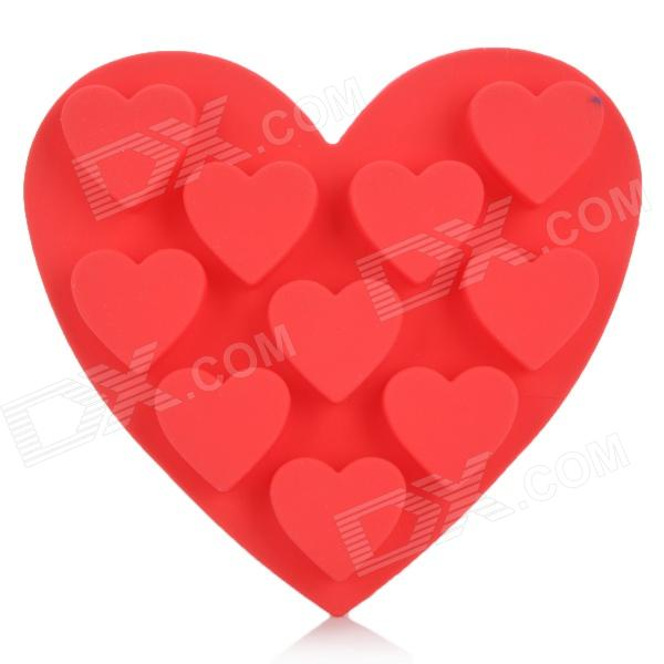 Silicone Love Heart Shaped Ice Cubes Trays Maker DIY Mould - Red silicone skeleton shaped ice cubes trays maker diy mould random color