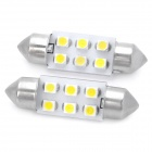 Festoon 37mm 1.5W 90~125LM 6x1210 SMD White LED Car Reading / Brake / Clearance Lamp (Pair / 12V)