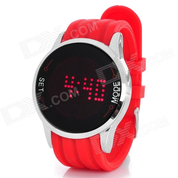 LED Digital Touch Screen Red Backlight Wrist Watch - Red (1 x CR2016) luxury watches mens stainless steel bracelet wrist watch men top brand large dial analog quartz watches relogio masculino zer
