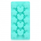 Silicone Bear & Plum Blossom Shaped Ice Cubes Trays Maker DIY Mould - Cyan