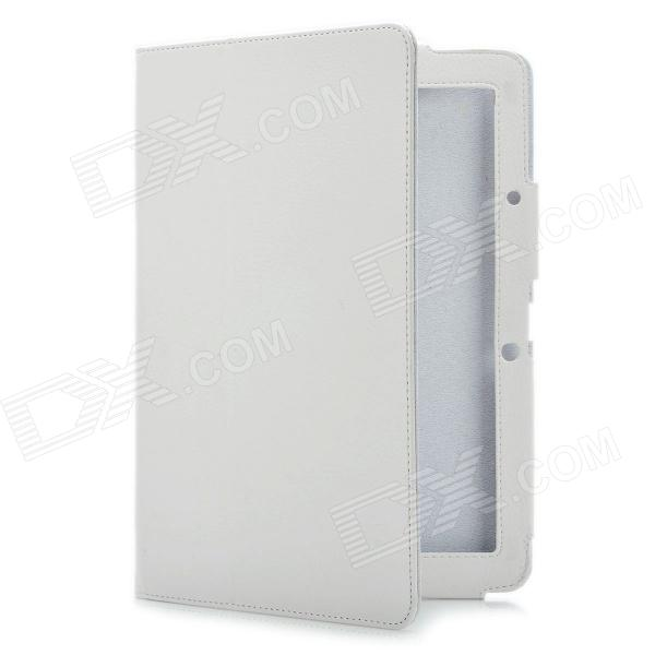 Protective PU Leather Case for Acer Iconia Tab A510 - White triple folding design plastic pu leather full body case for acer iconia a3 a20