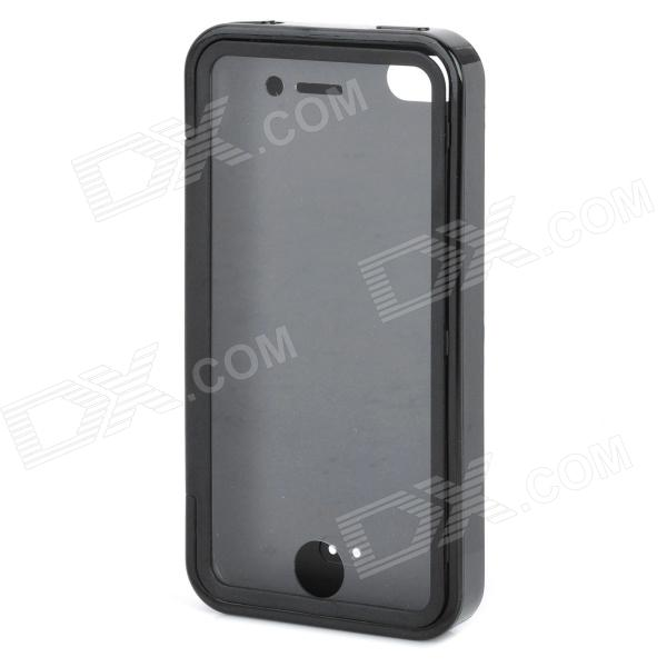Stylish Protective Case with Touch Cover for Iphone 4 / 4S - Black i c protective pu leather case stand w touch visual window cover for iphone 4 4s black