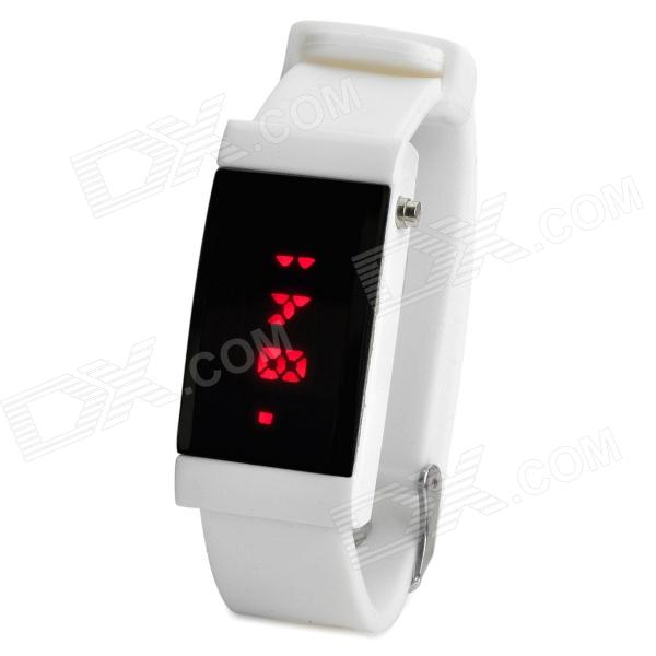 Stylish Digital Red LED Wrist Watch - White (1 x CR2032)