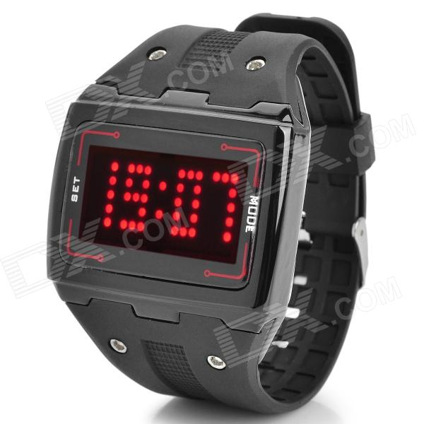 LED Digital Touch Screen Red Backlight Wrist Watch - Black (1 x CR2016) fashion stainless steel red yellow led water resistant wrist watch black 2 x cr2016