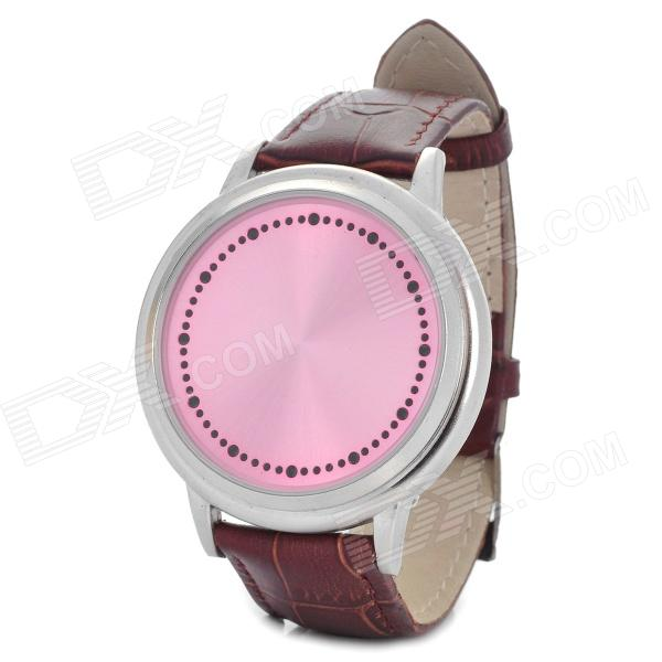 LED Digital Touch Screen Blue + White Backlight Wrist Watch - Pink + Brown (2 x CR2016)