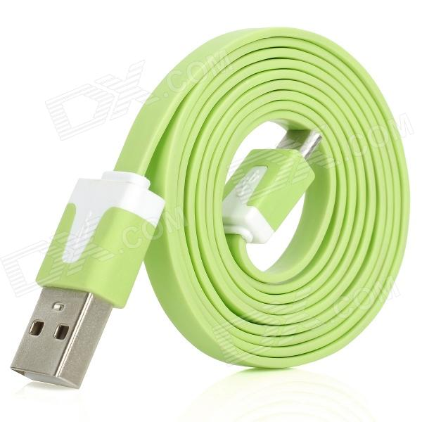 Stylish USB Male to Micro USB Male Charging Data Flat Cable - Green (100cm-Length)