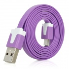 Stylish USB Male to Micro USB Male Charging Data Flat Cable - Purple (100cm-Length)