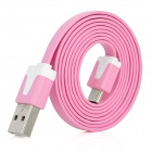 Stylish USB Male to Micro USB Male Charging Data Flat Cable - Pink (100cm-Length)