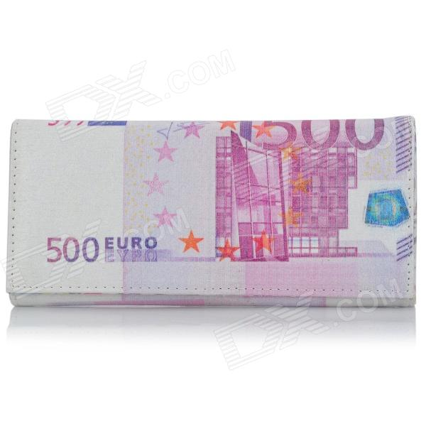 500 Euro Bill Style PU Leather 2-Fold Long Wallet w/ Snap Button (Size-M)