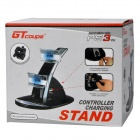 GT JM-340 Blue LED Dual USB Charger Controller Stand for PS3 - White