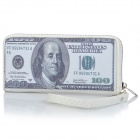 100 US Dollars Bill Style PU Leather Zipper Wallet - White + Grey (Size-M)