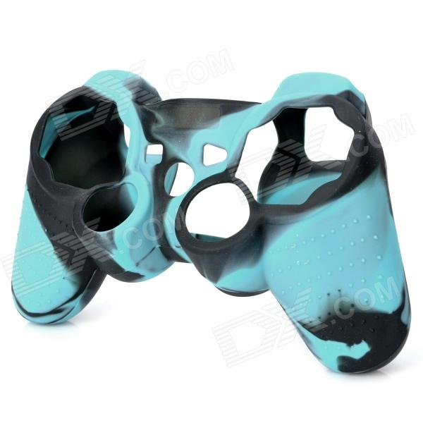 Protective Silicone Cover Case for PS3 / PS2 Controller -  Black + Light Blue protective silicone cover case for xbox 360 controller yellow blue