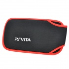 Protective Soft Carrying Pouch w/ Snap Closure for PS Vita + More - Black + Red