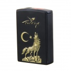 Creative Star Night Wolf Howl Pattern Windproof Slide Switch Butane Jet Torch Lighter - Black