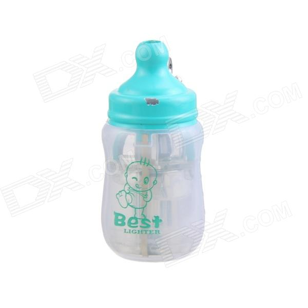 Cute Feeding Bottle Style Blue Flame Butane Gas Lighter with Chain - Plastic