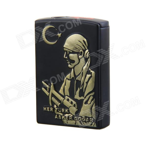 Creative Soldier Pattern Windproof Slide Switch Butane Jet Torch Lighter - Black chili pepper style zinc alloy butane gas lighter green