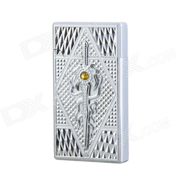 Fashion Zinc Alloy Red Flame Butane Gas Lighter - Silver scorpion pattern windproof dual flame butane gas lighter grey