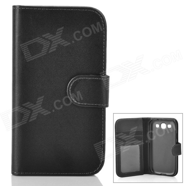 Protective Flip-open PU Leather Case for Samsung Galaxy S3 i9300 - Black молочко papa care детское увлажняющее с помпой 150 мл