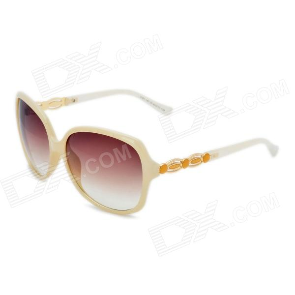 Fashion PC Resin Lens UV400 Protection Sunglasses - Off White fashion uv400 protection round shape resin lens sunglasses wine red