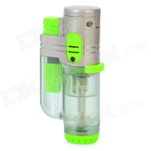 2000'C Tri-Flame Zinc Alloy Windproof Butane Jet Torch Lighter - Green