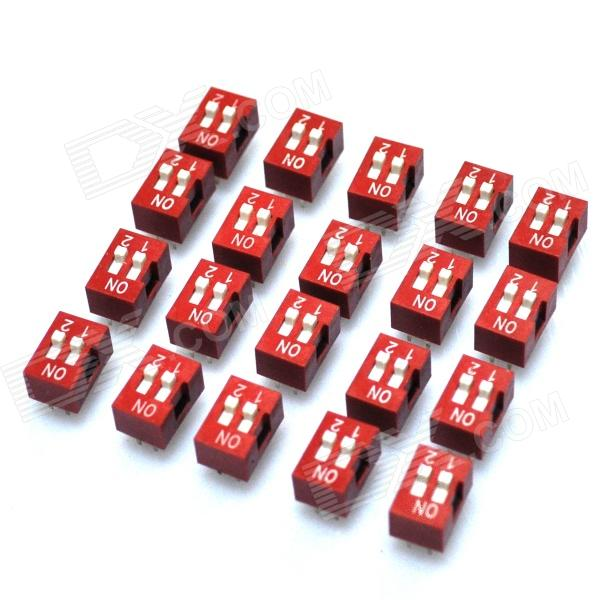 DIY 2 posiciones 4-Pin 2.54mm Pitch Interruptores Dip (20-pieza Pack)