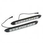 4.5W 6000K 90LM 9-LED White Light Car Daytime Running Lights - Black (DC 12V / 2-Piece)