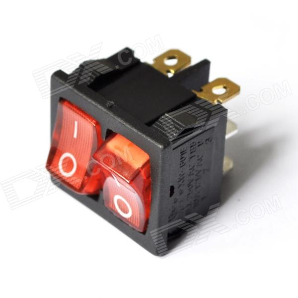 DIY 6-Pin Rocker Switches with Red Light Indicator 10 pcs red indicator lamp dual spst 6 pins snap in rocker switches w cover