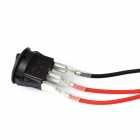 Car OFF/ON Rocker Switches with Green Light Indicator / 3 x Cables - Black (12V / 16A)