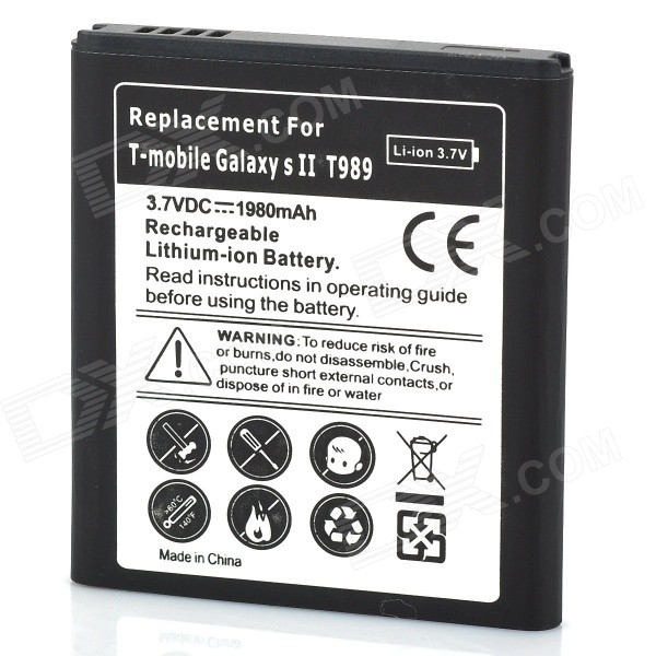 Replacement 3.7V 1980mAh Battery for Samsung Galaxy S2 / T989
