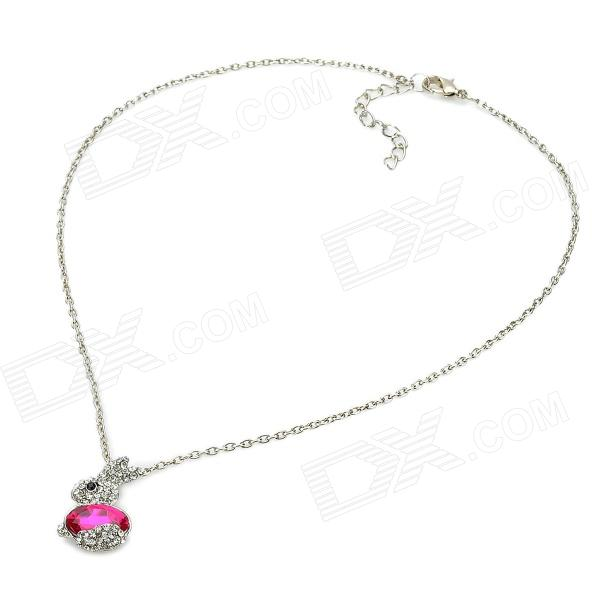 Cute Rabbit Style Rhinestone Pendant Necklace - Pink + Silver 11 09 universal cute beetle style electronic horn for bike pink black 2 x aa