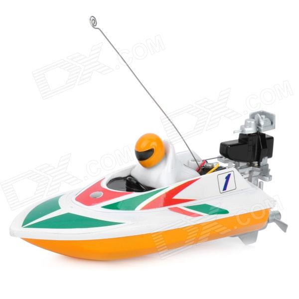 Water Resistant Remote Radio Control R/C Racing Boat - Green + White + Yellow