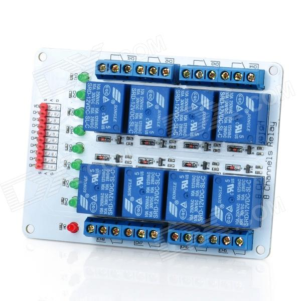 8-Channel 12V Relay Module Expansion Board for Arduino (Works with Official Arduino Boards) one channel 24v relay module for arduino works with official arduino boards
