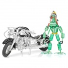 Cool Handmade Harley-Davidson Motorcycle Robot Display Model Toy - Silver + Black + Green