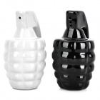 Unique Grenade Style Ceramic Spice / Condiment Container Bottles - White + Black (2-Piece Pack)