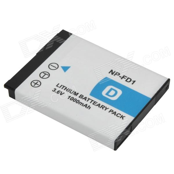 Shoot NP-FD1 Replacement 3.6V 1000mAh Li-ion Battery for Sony DSC-T70 + More - White replacement compatible 7 2v 3700mah battery pack for sony np fv100