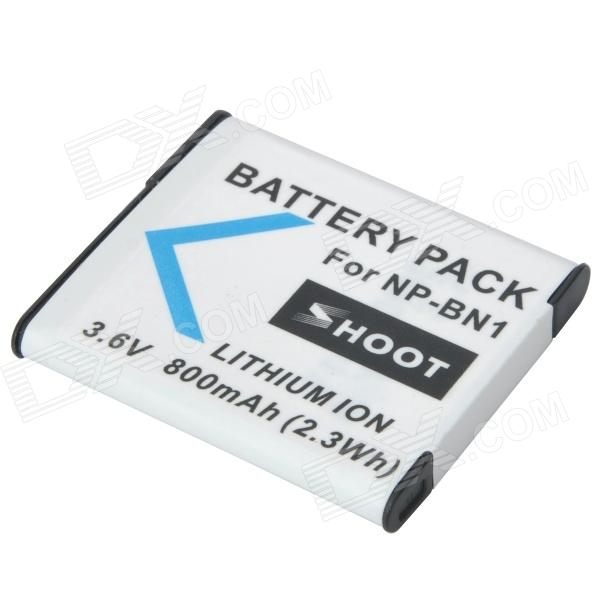 Shoot NP-BN1 Replacement 3.6V 800mAh Li-ion Battery for Sony T110 + More - White np f960 f970 6600mah battery for np f930 f950 f330 f550 f570 f750 f770 sony camera