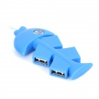 Unique Fish Bone Style 4-Port USB 2.0 Hub - Blue