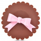 Beautiful Bowknot Silicone Cup Cover Lid - Pink + Coffee