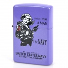 Female Navy Style Metal Kerosene Oil Lighter - Purple