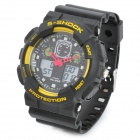 Sports Quartz Diving Wrist Watch w/ EL Backlit / Week / Stopwatch / Alarm Clock - Yellow + Black