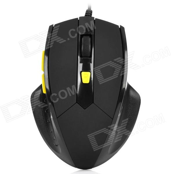 USB Wired 600 / 1000 / 1600DPI Gaming Optical Mouse - Black