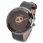 Unique Skull Style Second Hand Diamond Dial Quartz Wrist Watch - Brown + Black (1 x 377A)