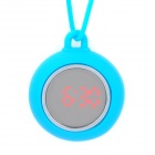Cute Jelly Silicone Strap LED Pocket Watch - Blue + Silver