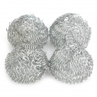 17mm Zinc Alloy Tobacco Pipe Screen Filter Ball Net Ball - Silver (4-Piece Pack)