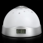 Color-Change Colorful LED Light Magic Projection Clock - Silver + White (3 x AAA)