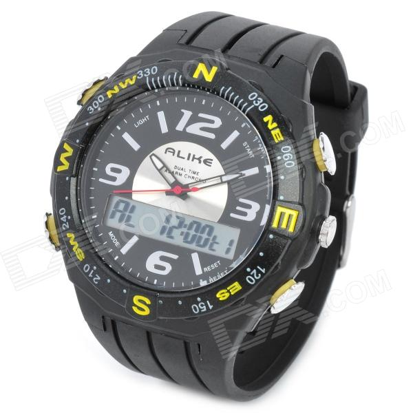 Fashion Water Resistant Diving Wrist Watch - Black + Yellow (1 x CR2016 + 1 x SR626SW) fashion stainless steel red yellow led water resistant wrist watch black 2 x cr2016