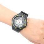 Fashion Water Resistant Diving Wrist Watch - Black + Yellow (1 x CR2016 + 1 x SR626SW)